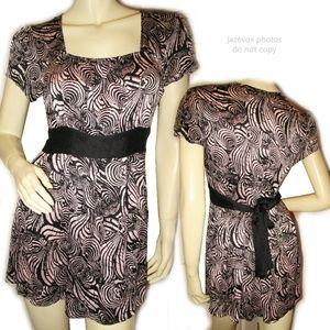 ALFANI Silk Top Blouse Squareneck Pink Black Print